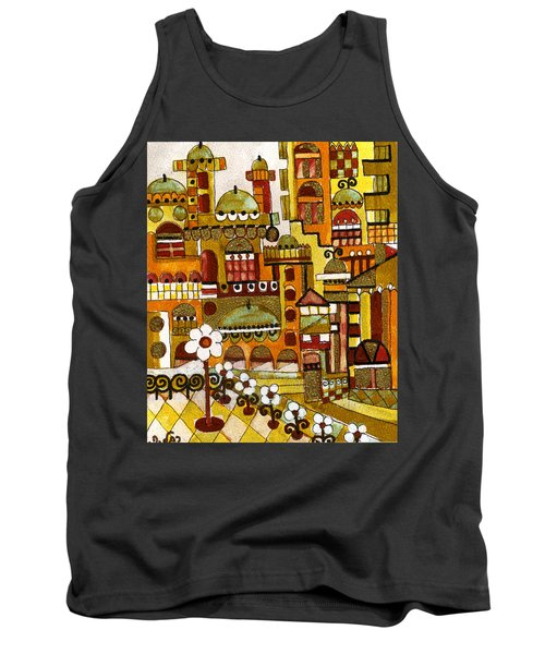 Red Kasba Skyline Landscape Art Of Old Town Dome And Minarett Decorated With Flower Arch In Orange Tank Top by Rachel Hershkovitz