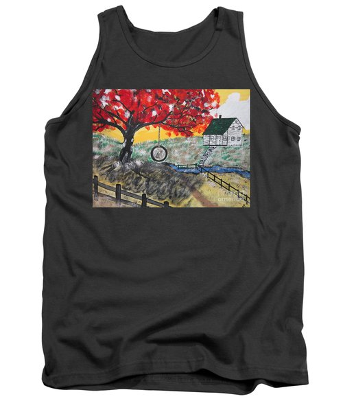 Tank Top featuring the painting Red Maple  Swing by Jeffrey Koss