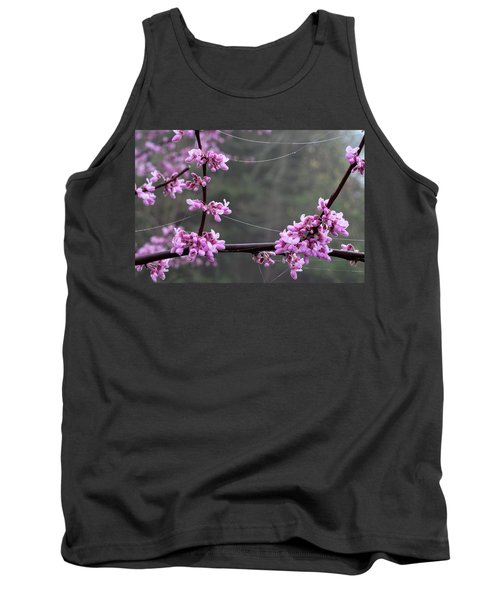 Redbud With Webs And Dew Tank Top