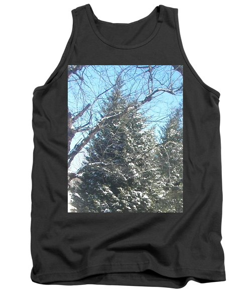 Tank Top featuring the photograph Snow Sprinkled Pine by Pamela Hyde Wilson