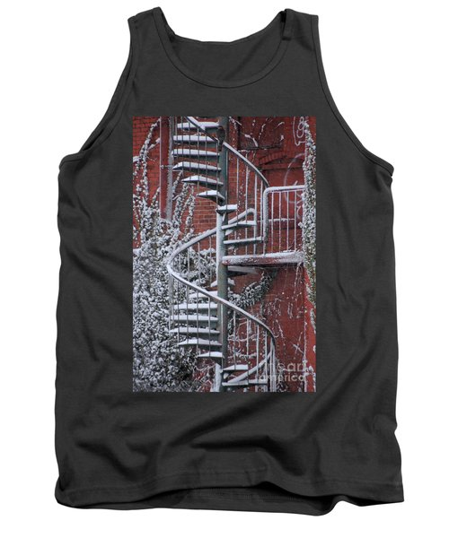 Spiral Staircase With Snow And Cooper's Hawk Tank Top