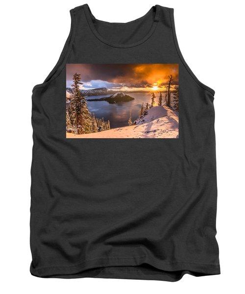 Starburst Sunrise At Crater Lake Tank Top