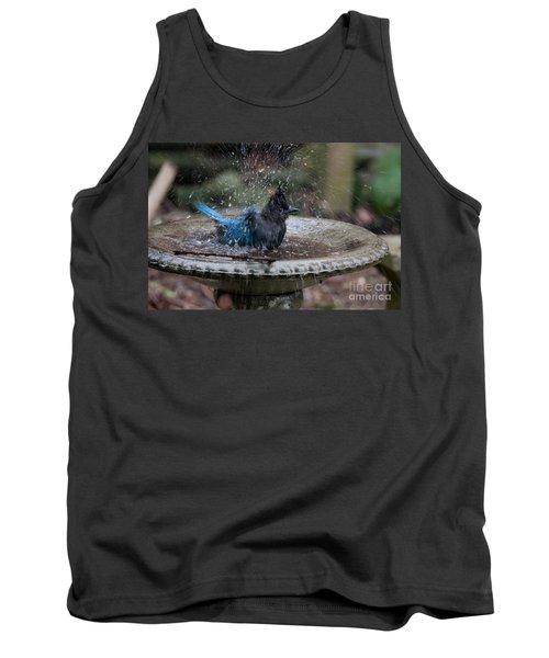 Stellar Jay In The Birdbath Tank Top by Carol Ailles