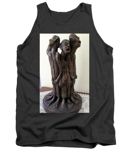 Suffering Circle In Bronze Sculpture Men In Rugs Standing In A Circle With Suffering Faces Crying  Tank Top by Rachel Hershkovitz