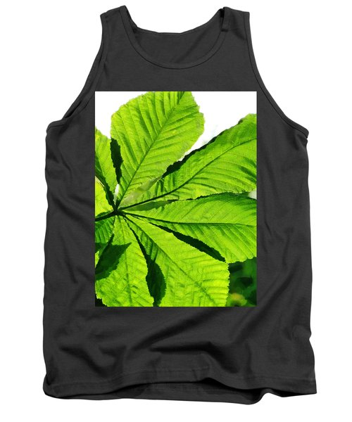 Tank Top featuring the photograph Sun On A Horse Chestnut Leaf by Steve Taylor