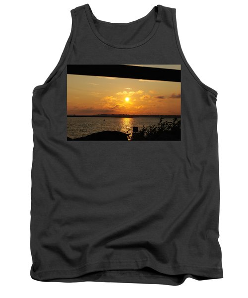 Tank Top featuring the photograph Sunset Through The Rails by Michael Frank Jr