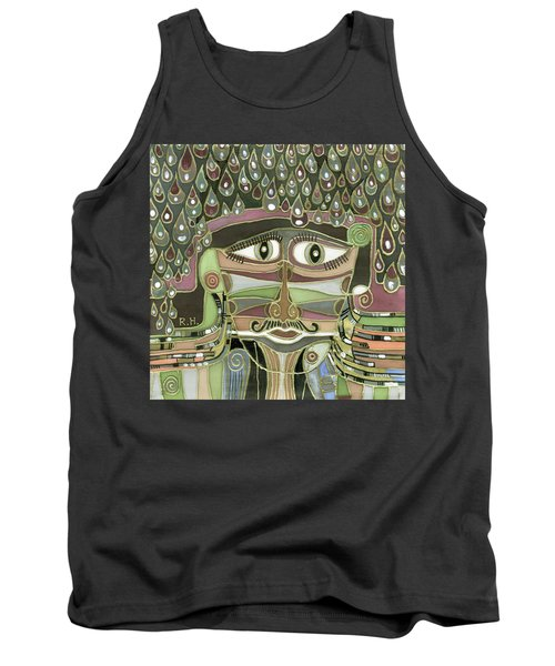 Surprize Drops Surrealistic Green Brown Face With  Liquid Drops Large Eyes Mustache  Tank Top
