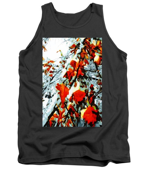 Tank Top featuring the photograph The Autumn Leaves And Winter Snow by Steve Taylor