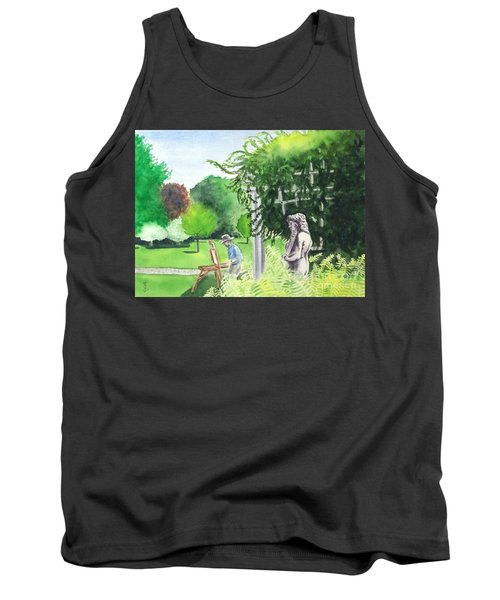 Tank Top featuring the painting the garden at the wellers carriage house in Saline  Michigan 1 by Yoshiko Mishina