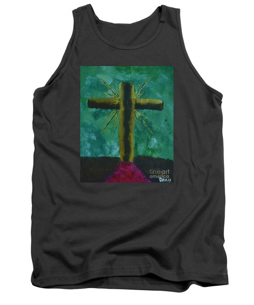 Tank Top featuring the painting The Old Rugged Cross by Donna Brown