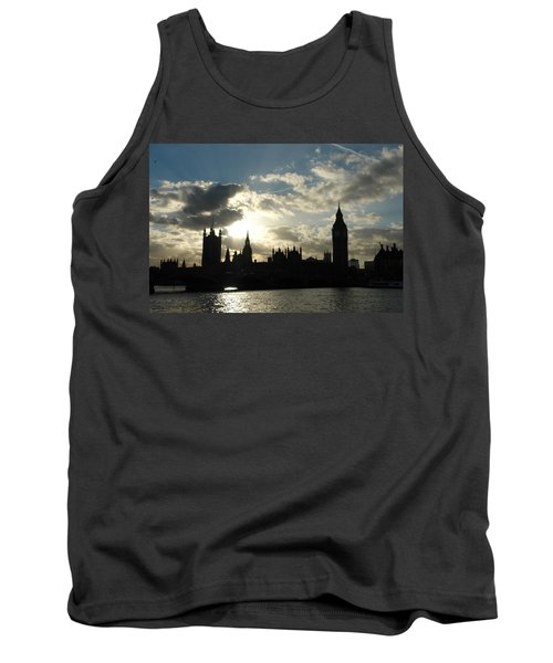 The Outline Of Big Ben And Westminster And Other Buildings At Sunset Tank Top