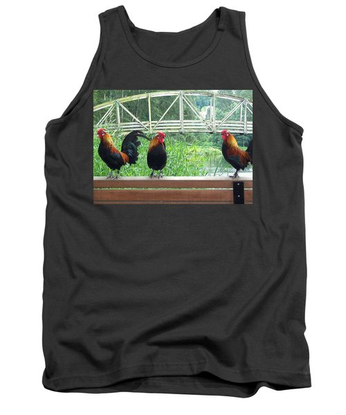 Three Roosters  Tank Top by Peter Mooyman