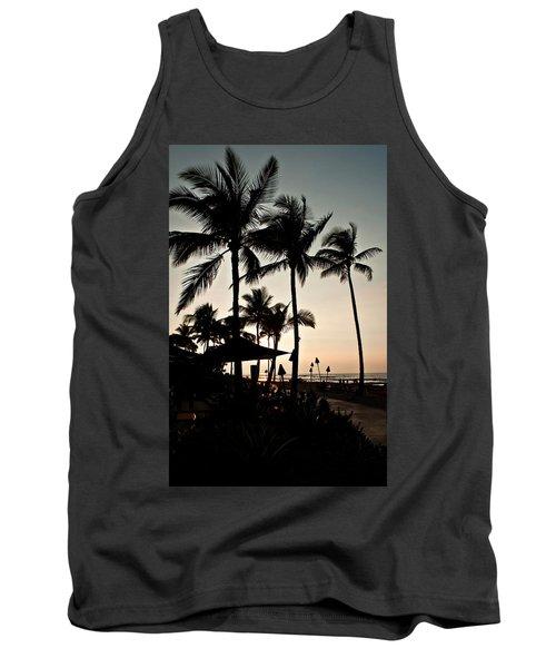 Tropical Island Silhouette Beach Sunset Tank Top by Valerie Garner