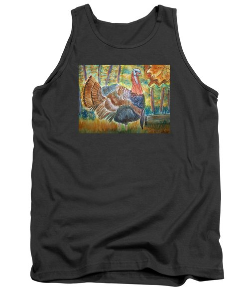 Tank Top featuring the painting Turkey In Fall by Belinda Lawson
