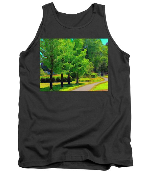 Tank Top featuring the mixed media Van Gogh Trees by Terence Morrissey