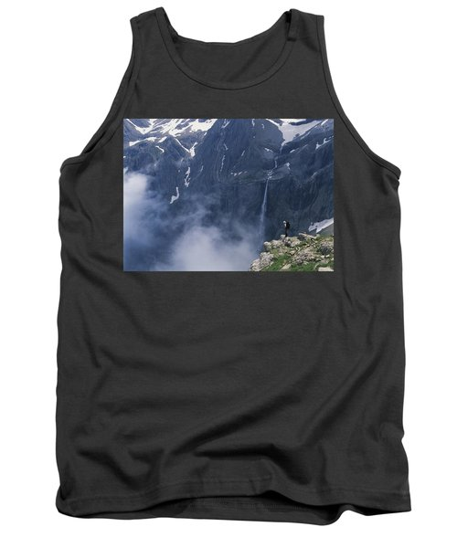 Walker Looking Over Waterfall At Cirque Tank Top