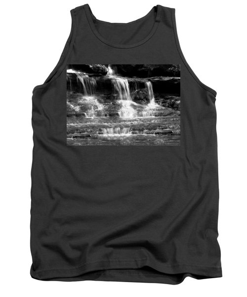 Waterfall Trio At Mcconnells Mill State Park In Black And White Tank Top
