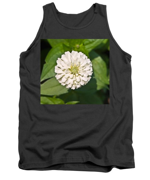 Tank Top featuring the photograph White Zinnia And Green Leaves by Susan Leggett