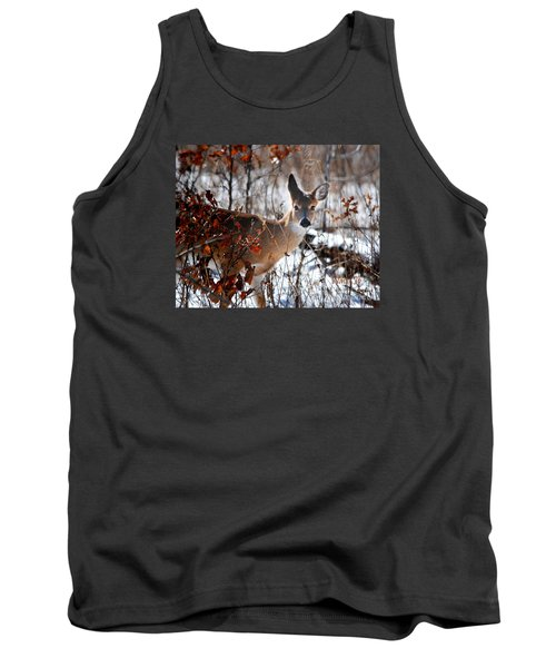 Tank Top featuring the photograph Whitetail Deer In Snow by Nava Thompson