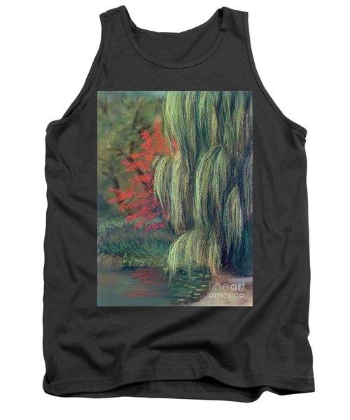Tank Top featuring the drawing Willow Tree - Hidden Lake Gardens -tipton Michigan by Yoshiko Mishina