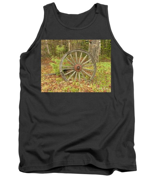 Tank Top featuring the photograph Wood Spoked Wheel by Sherman Perry