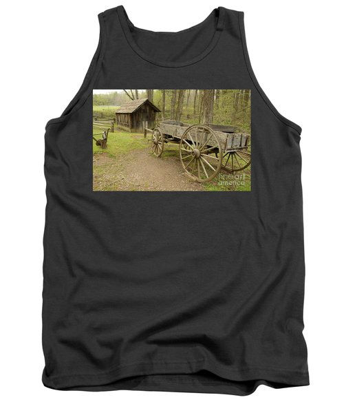Wooden Wagon Tank Top by Cindy Manero