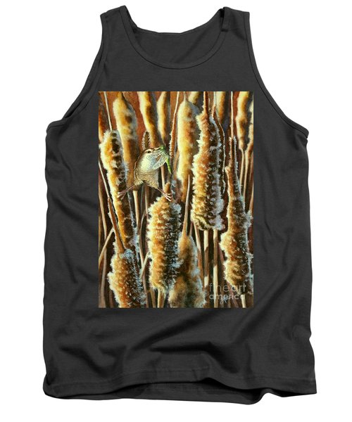 Wren And Cattails 2 Tank Top