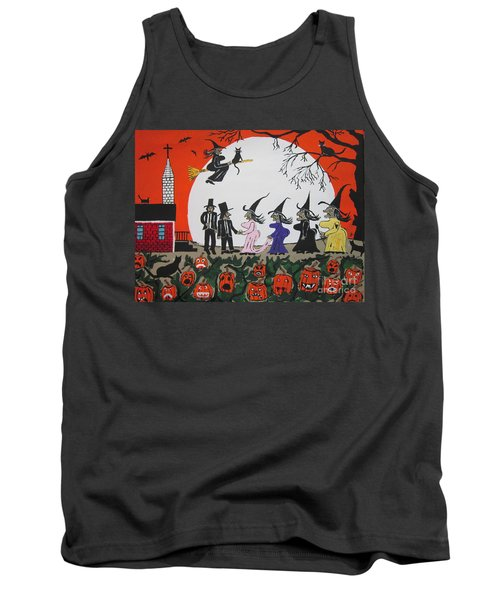 Tank Top featuring the painting  A Halloween Wedding by Jeffrey Koss