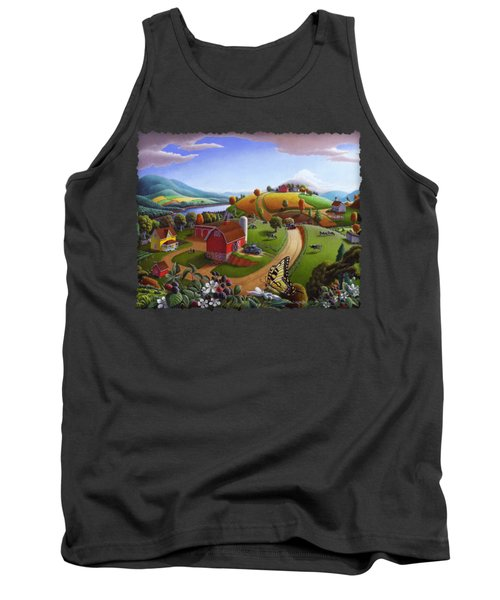 Folk Art Blackberry Patch Rural Country Farm Landscape Painting - Blackberries Rustic Americana Tank Top