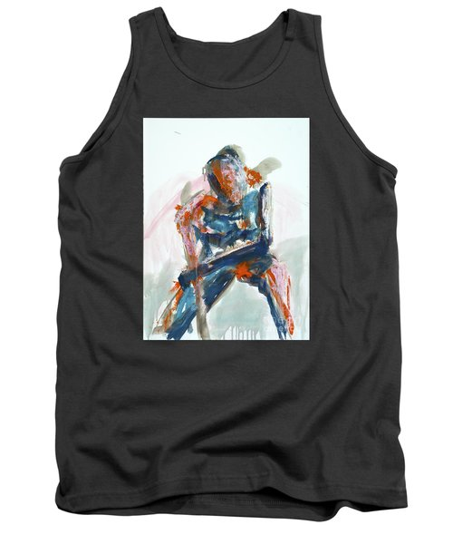 Tank Top featuring the painting 04954 Athlete by AnneKarin Glass