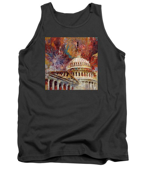 070 United States Capitol Building - Us Independence Day Celebration Fireworks Tank Top