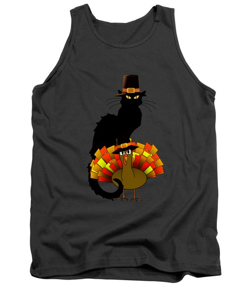 Thanksgiving Le Chat Noir With Turkey Pilgrim Tank Top by Gravityx9  Designs