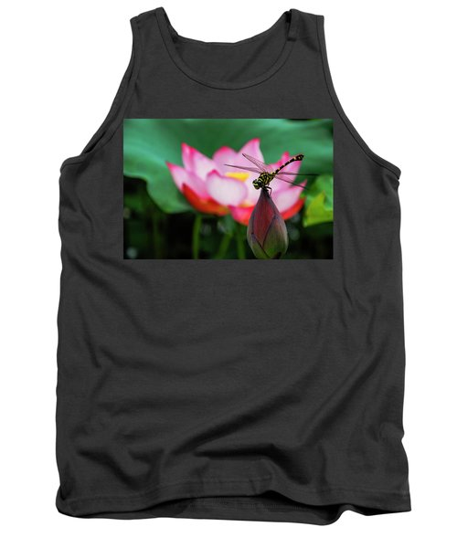 A Dragonfly On Lotus Flower Tank Top