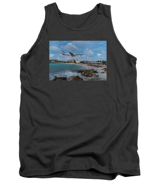 American Airlines Landing At St. Maarten Tank Top by David Gleeson