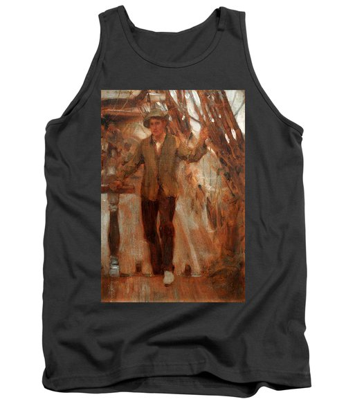 Tank Top featuring the painting At The Break Of The Poop  by Henry Scott Tuke