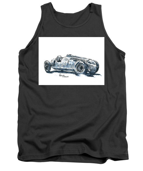 Auto Union Typ C Classic Racecar Ink Drawing And Watercolor Tank Top