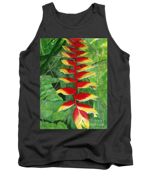 Tank Top featuring the painting Balinese Heliconia Rostrata by Melly Terpening