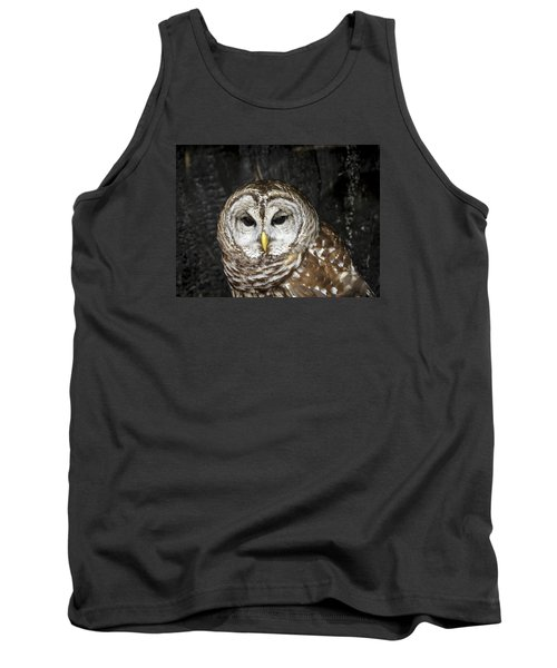 Tank Top featuring the photograph Barred Owl by Tyson and Kathy Smith
