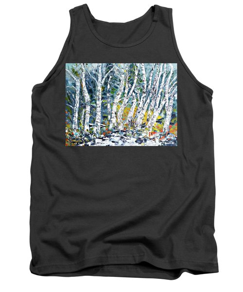 Tank Top featuring the painting Birches Pond by AmaS Art