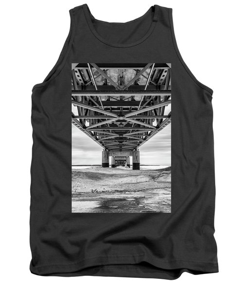 Tank Top featuring the photograph Black And White Mackinac Bridge Winter by John McGraw