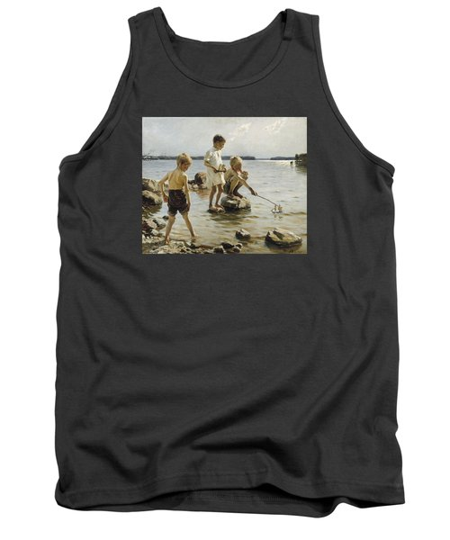 Boys Playing On The Shore Tank Top by Albert Edelfelt