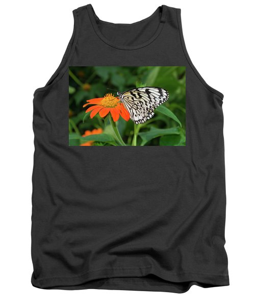 Butterfly On Flower Tank Top by Hans Engbers