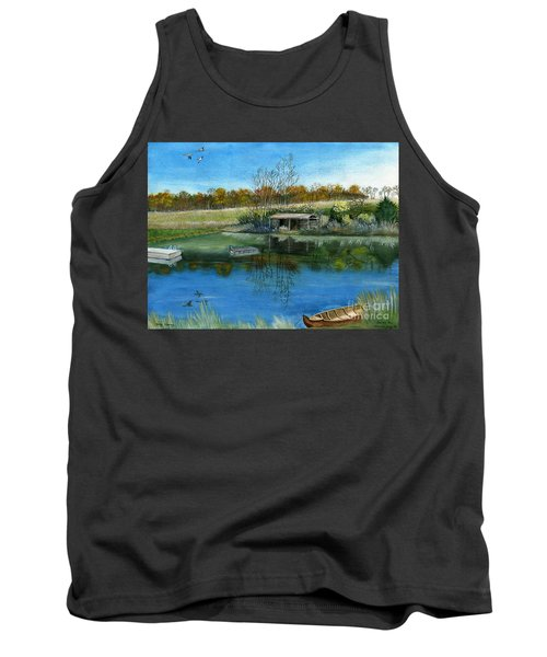 Tank Top featuring the painting Cole Hill Pond by Melly Terpening