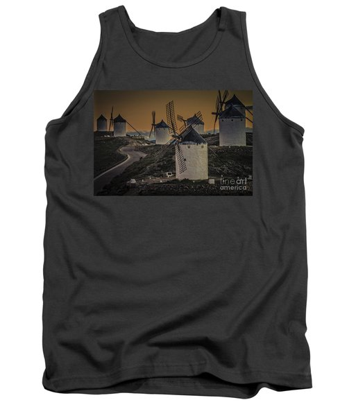 Tank Top featuring the photograph Consuegra Windmills 2 by Heiko Koehrer-Wagner