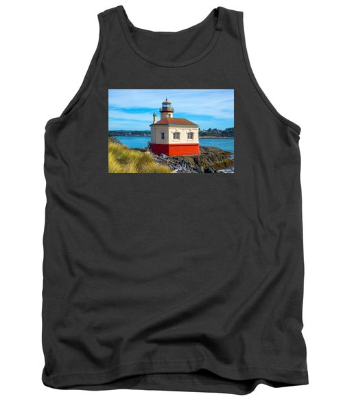 Tank Top featuring the tapestry - textile Coquille Lighthouse by Dennis Bucklin