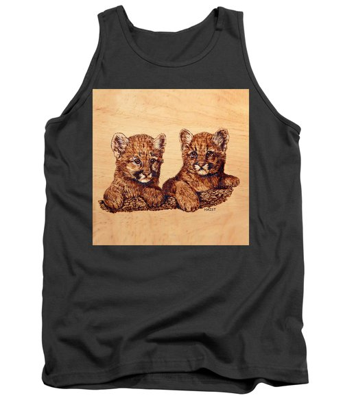 Tank Top featuring the pyrography Cougar Cubs by Ron Haist
