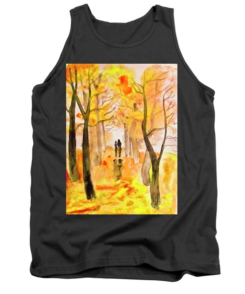 Couple On Autumn Alley, Painting Tank Top