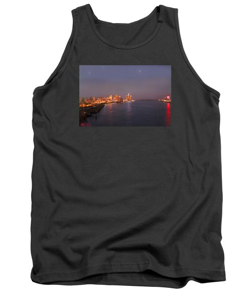 Tank Top featuring the photograph Detroit Skyline At Night by Michael Rucker