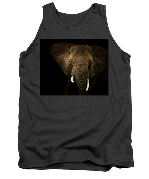 Elephant Against Black Background Tank Top by James Larkin