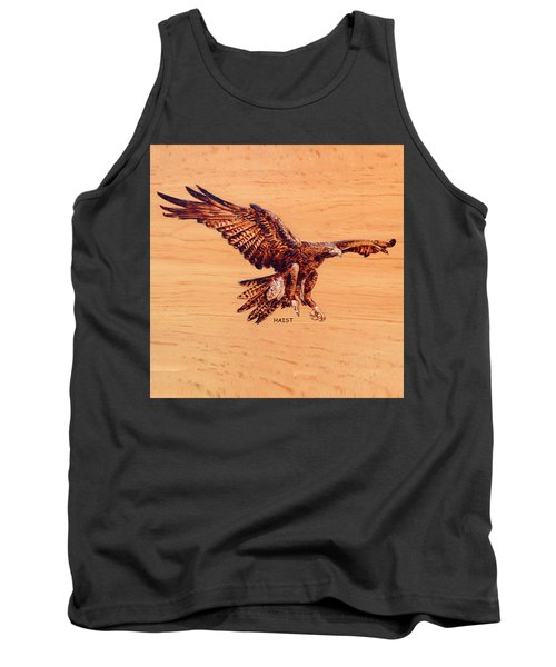 Tank Top featuring the pyrography Golden Eagle by Ron Haist